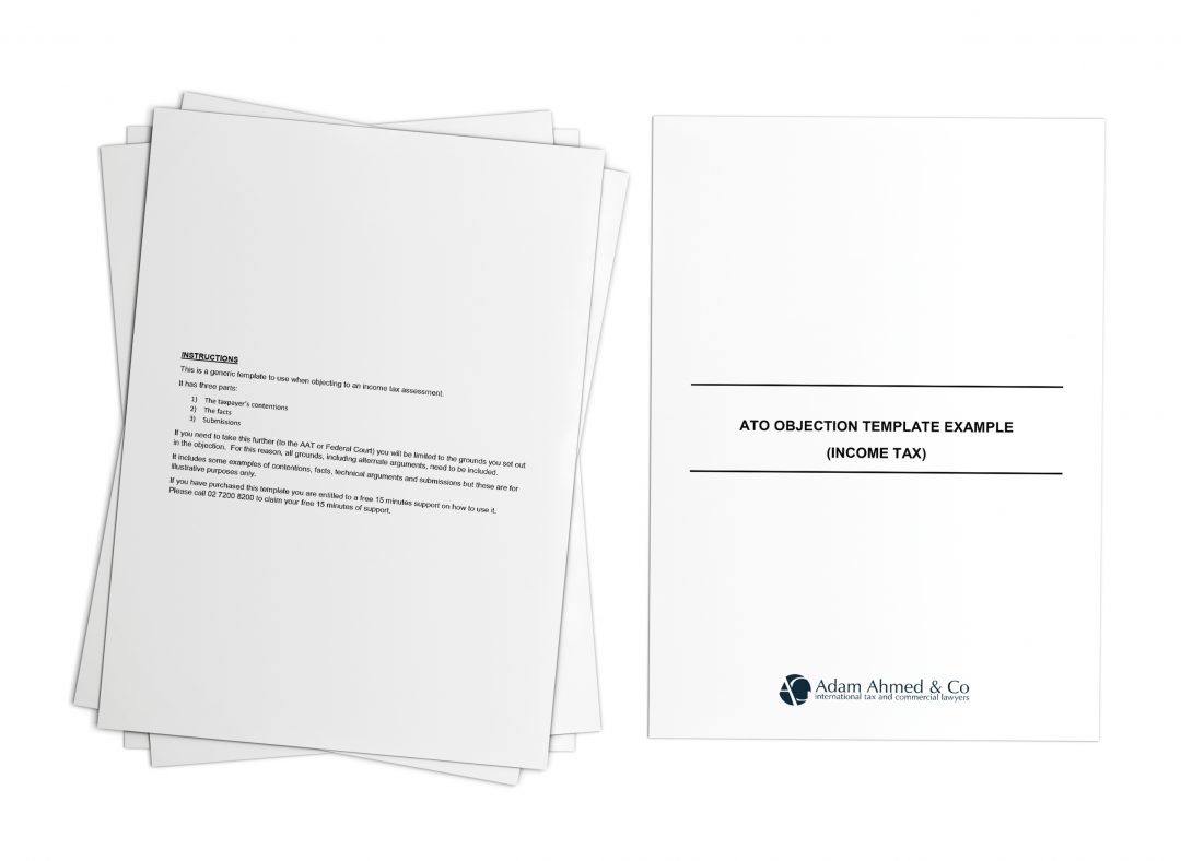 ATO objection template example (income tax)