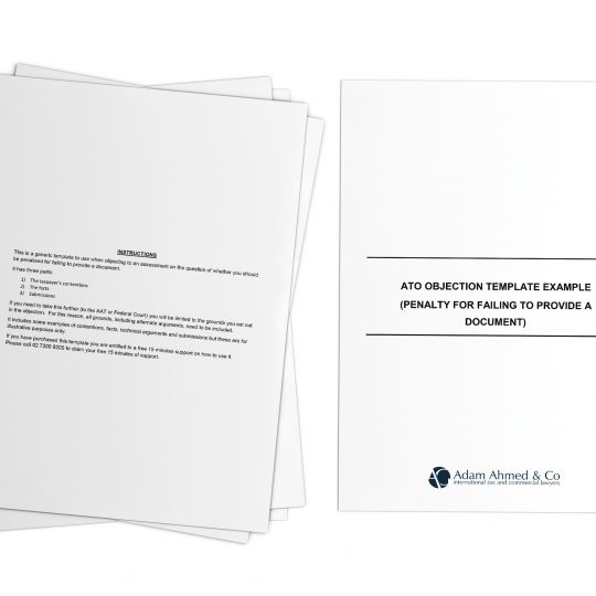 ATO objection template example (penalty for failing to provide a document)