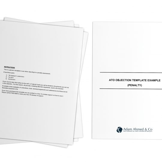 ATO objection template example (penalty)