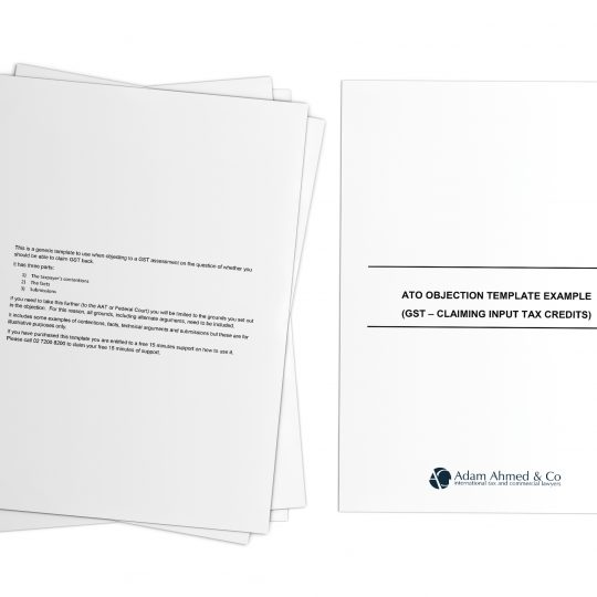 ATO objection template example (GST – claiming input tax credits)