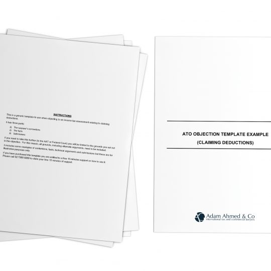 ATO objection template example (claiming deductions)