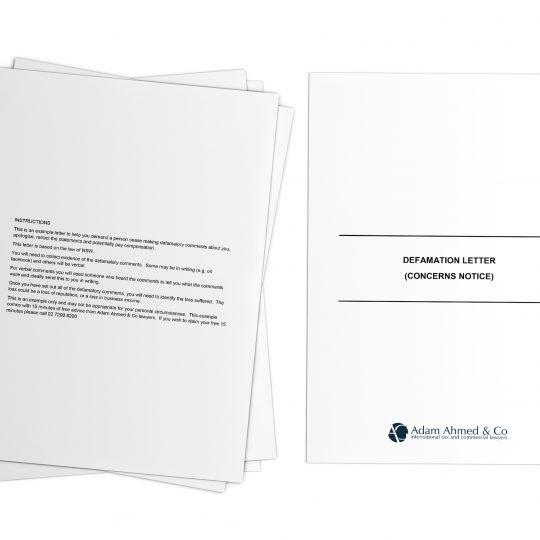 Defamation Letter (concerns notice)